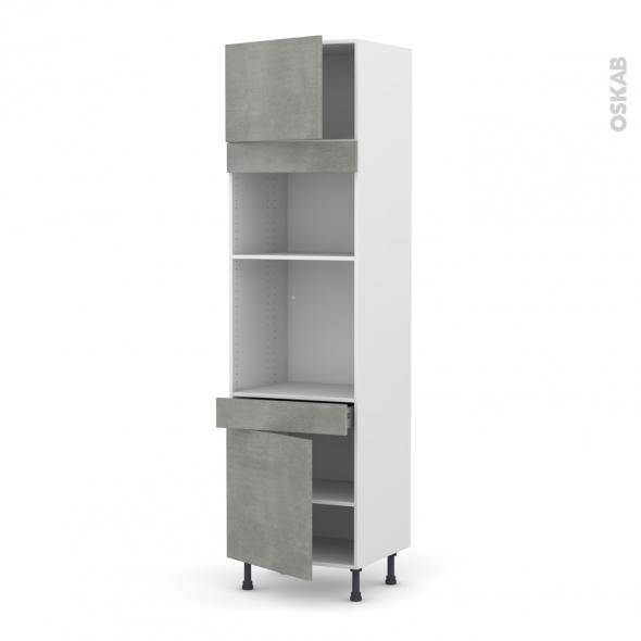 Colonne de cuisine N°1356 - Four+MO encastrable niche 36/38 - FAKTO Béton - 2 portes 1 tiroir - L60 x H217 x P58 cm