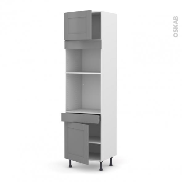 Colonne de cuisine N°1356 - Four+MO encastrable niche 36/38 - FILIPEN Gris - 2 portes 1 tiroir - L60 x H217 x P58 cm