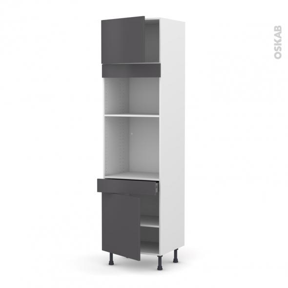 Colonne de cuisine N°1356 - Four+MO encastrable niche 36/38 - GINKO Gris - 2 portes 1 tiroir - L60 x H217 x P58 cm
