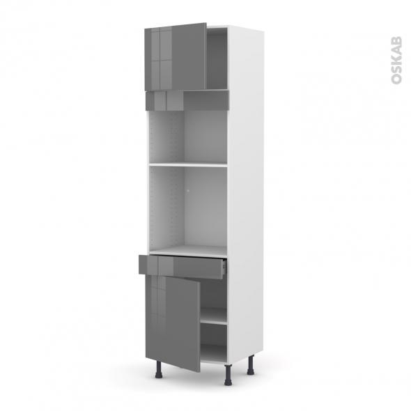 Colonne de cuisine N°1356 - Four+MO encastrable niche 36/38 - STECIA Gris - 2 portes 1 tiroir - L60 x H217 x P58 cm