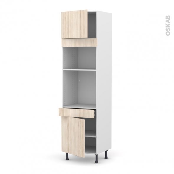 Colonne de cuisine N°1356 - Four+MO encastrable niche 36/38 - IKORO Chêne clair - 2 portes 1 tiroir - L60 x H217 x P58 cm