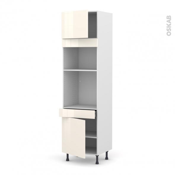 Colonne de cuisine N°1356 - Four+MO encastrable niche 36/38 - KERIA Ivoire - 2 portes 1 tiroir - L60 x H217 x P58 cm