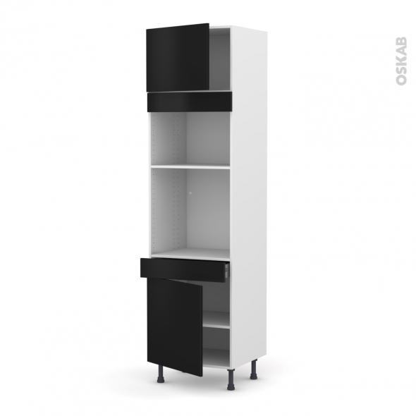 Colonne de cuisine N°1356 - Four+MO encastrable niche 36/38 - GINKO Noir - 2 portes 1 tiroir - L60 x H217 x P58 cm