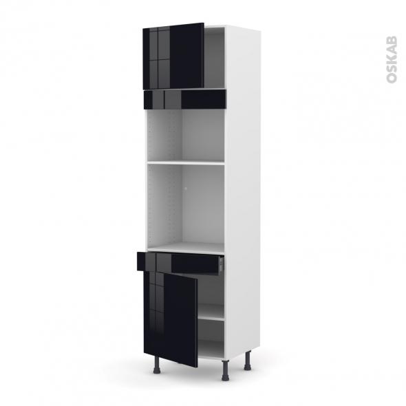 Colonne de cuisine N°1356 - Four+MO encastrable niche 36/38 - KERIA Noir - 2 portes 1 tiroir - L60 x H217 x P58 cm