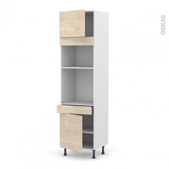 Colonne de cuisine N°1356 - Four+MO encastrable niche 36/38 - STILO Noyer Blanchi - 2 portes 1 tiroir - L60 x H217 x P58 cm