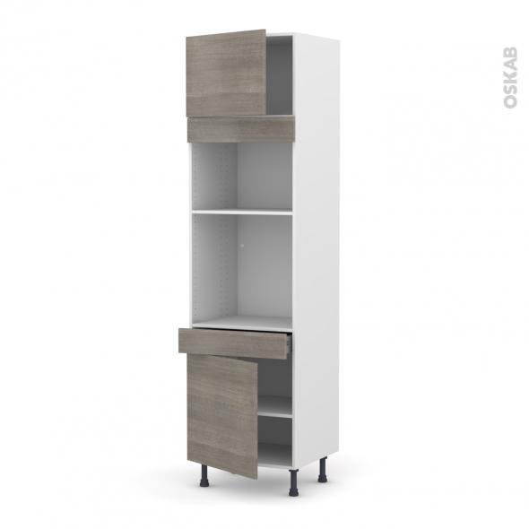 Colonne de cuisine N°1356 - Four+MO encastrable niche 36/38 - STILO Noyer Naturel - 2 portes 1 tiroir - L60 x H217 x P58 cm