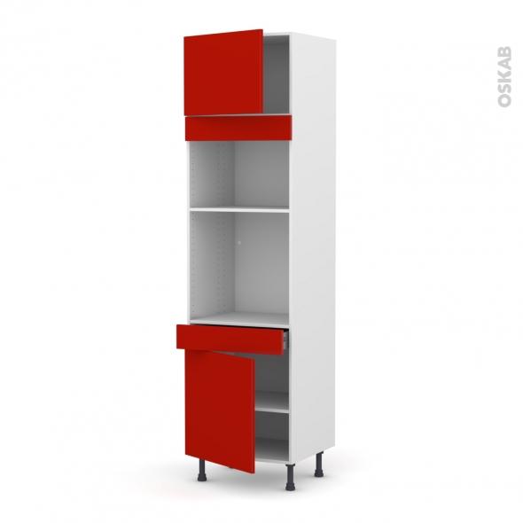 GINKO Rouge - Colonne Four+MO 36/38 N°1356  - 2 portes 1 tiroir - L60xH217xP58