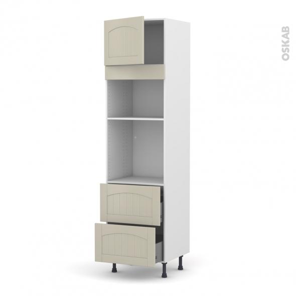 SILEN Argile - Colonne Four+MO 36/38 N°1357  - 1 porte 2 casseroliers - L60xH217xP58 - gauche