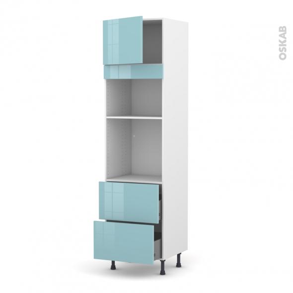Colonne de cuisine N°1357 - Four+MO encastrable niche 36/38 - KERIA Bleu - 1 porte 2 casseroliers - L60 x H217 x P58 cm