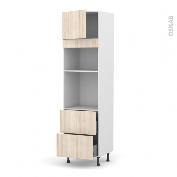 Colonne de cuisine N°1357 - Four+MO encastrable niche 36/38 - IKORO Chêne clair - 1 porte 2 casseroliers - L60 x H217 x P58 cm