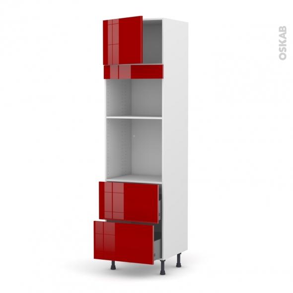 Colonne de cuisine N°1357 - Four+MO encastrable niche 36/38 - STECIA Rouge - 1 porte 2 casseroliers - L60 x H217 x P58 cm
