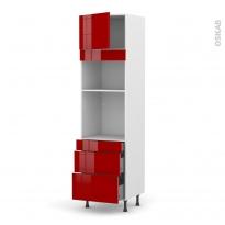 Colonne de cuisine N°1358 - Four+MO encastrable niche 36/38 - STECIA Rouge - 1 porte 3 tiroirs - L60 x H217 x P58 cm