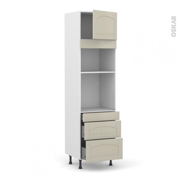 SILEN Argile - Colonne Four+MO 36/38 N°1358  - 1 porte 3 tiroirs - L60xH217xP58 - droite