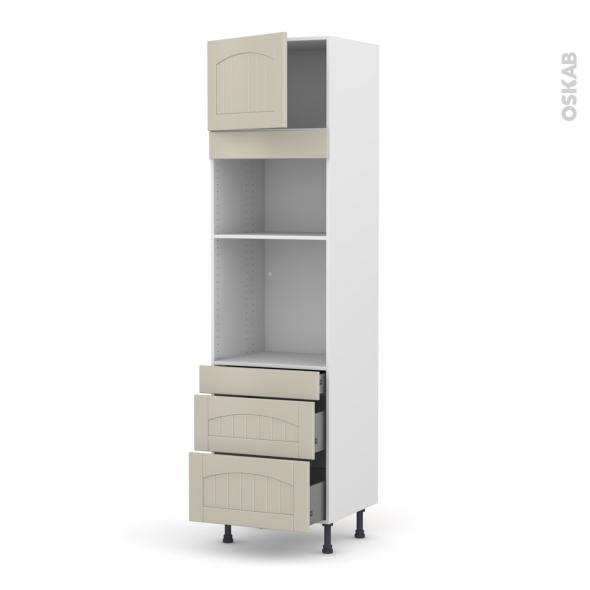 SILEN Argile - Colonne Four+MO 36/38 N°1358  - 1 porte 3 tiroirs - L60xH217xP58 - gauche