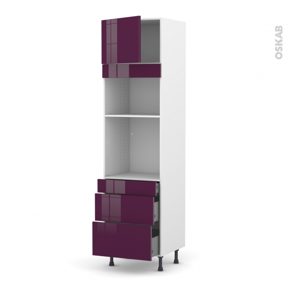 Colonne de cuisine N°1358 - Four+MO encastrable niche 36/38 - KERIA Aubergine - 1 porte 3 tiroirs - L60 x H217 x P58 cm