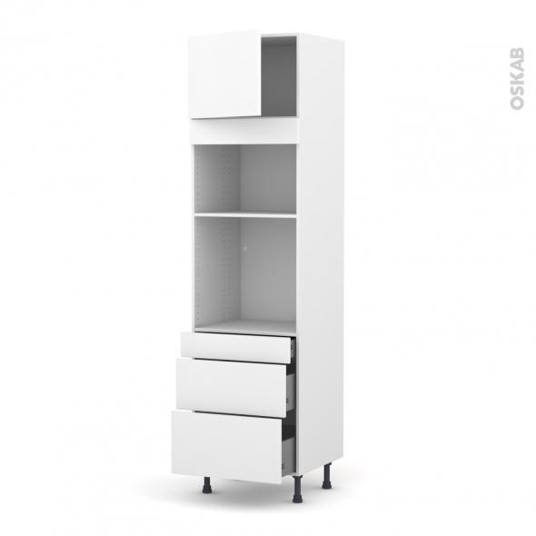 Colonne de cuisine N°1358 - Four+MO encastrable niche 36/38 - GINKO Blanc - 1 porte 3 tiroirs - L60 x H217 x P58 cm
