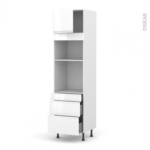 Colonne de cuisine N°1358 - Four+MO encastrable niche 36/38 - IPOMA Blanc brillant - 1 porte 3 tiroirs - L60 x H217 x P58 cm