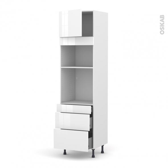 Colonne de cuisine N°1358 - Four+MO encastrable niche 36/38 - STECIA Blanc - 1 porte 3 tiroirs - L60 x H217 x P58 cm
