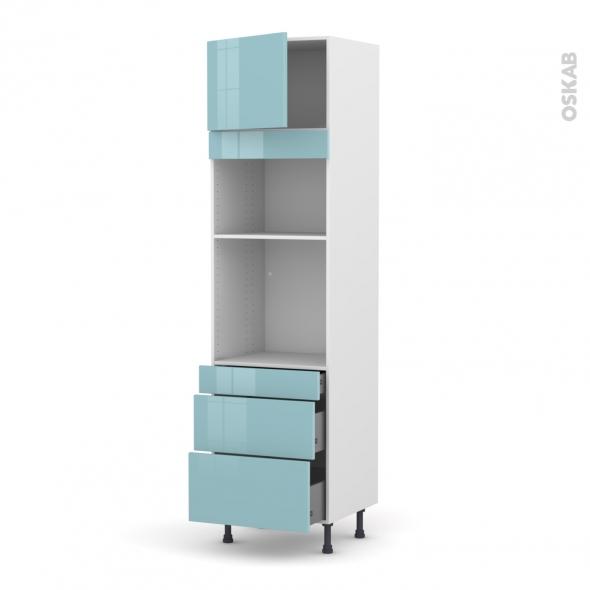 KERIA Bleu - Colonne Four+MO 36/38 N°1358  - 1 porte 3 tiroirs - L60xH217xP58