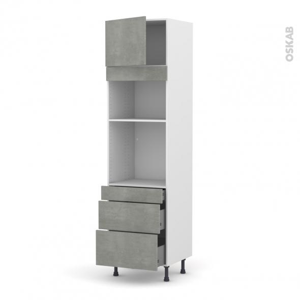 Colonne de cuisine N°1358 - Four+MO encastrable niche 36/38 - FAKTO Béton - 1 porte 3 tiroirs - L60 x H217 x P58 cm
