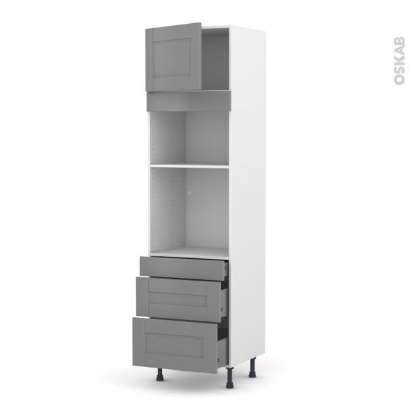 Colonne de cuisine N°1358 - Four+MO encastrable niche 36/38 - FILIPEN Gris - 1 porte 3 tiroirs - L60 x H217 x P58 cm