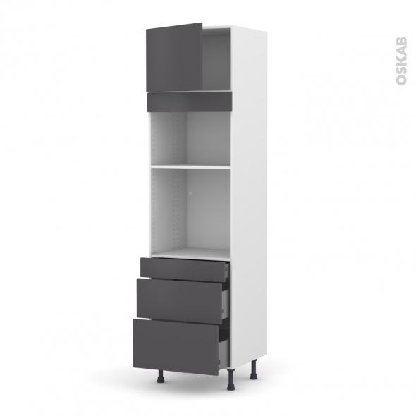 Colonne de cuisine N°1358 - Four+MO encastrable niche 36/38 - GINKO Gris - 1 porte 3 tiroirs - L60 x H217 x P58 cm