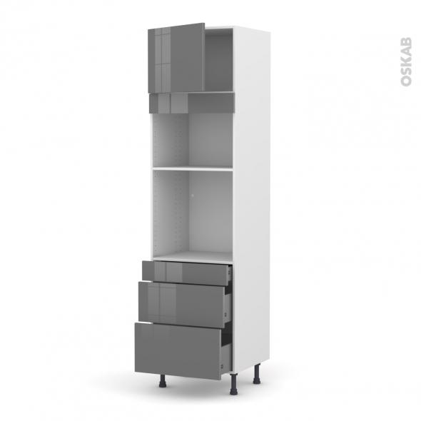 Colonne de cuisine N°1358 - Four+MO encastrable niche 36/38 - STECIA Gris - 1 porte 3 tiroirs - L60 x H217 x P58 cm