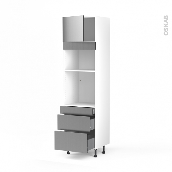 STILO Inox - Colonne Four+MO 36/38 N°1358  - 1 porte 3 tiroirs - L60xH217xP58