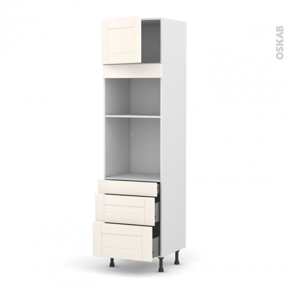 Colonne de cuisine N°1358 - Four+MO encastrable niche 36/38 - FILIPEN Ivoire - 1 porte 3 tiroirs - L60 x H217 x P58 cm