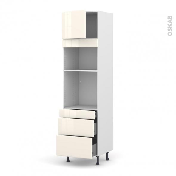 IRIS Ivoire - Colonne Four+MO 36/38 N°1358  - 1 porte 3 tiroirs - L60xH217xP58
