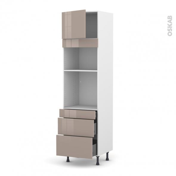 Colonne de cuisine N°1358 - Four+MO encastrable niche 36/38 - KERIA Moka - 1 porte 3 tiroirs - L60 x H217 x P58 cm