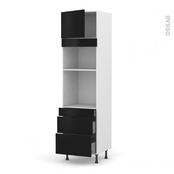 Colonne de cuisine N°1358 - Four+MO encastrable niche 36/38 - GINKO Noir - 1 porte 3 tiroirs - L60 x H217 x P58 cm