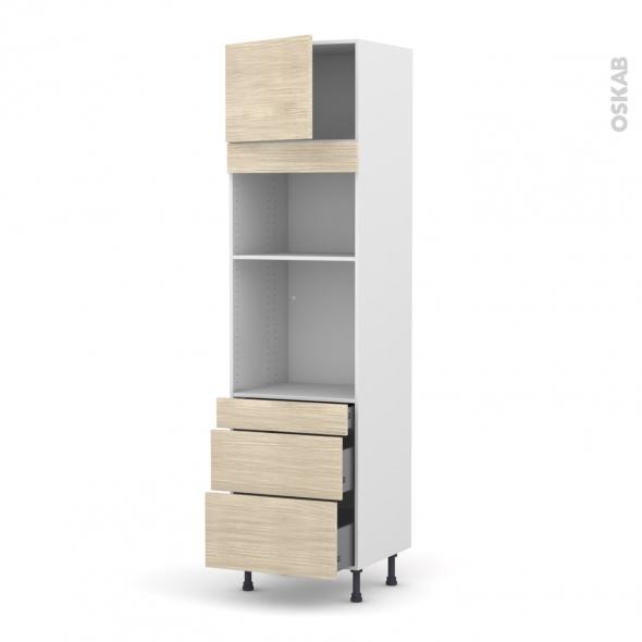 Colonne de cuisine N°1358 - Four+MO encastrable niche 36/38 - STILO Noyer Blanchi - 1 porte 3 tiroirs - L60 x H217 x P58 cm