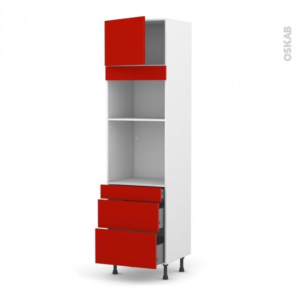 GINKO Rouge - Colonne Four+MO 36/38 N°1358  - 1 porte 3 tiroirs - L60xH217xP58
