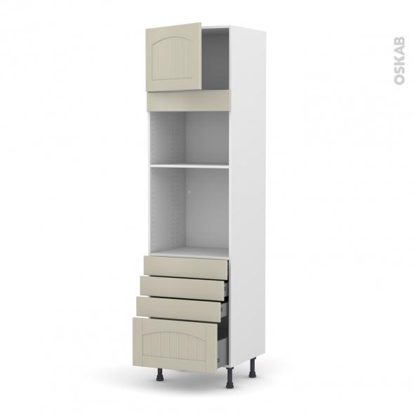 SILEN Argile - Colonne Four+MO 36/38 N°1359  - 1 porte 4 tiroirs - L60xH217xP58 - gauche