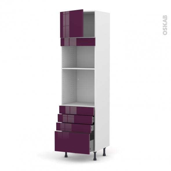 Colonne de cuisine N°1359 - Four+MO encastrable niche 36/38 - KERIA Aubergine - 1 porte 4 tiroirs - L60 x H217 x P58 cm
