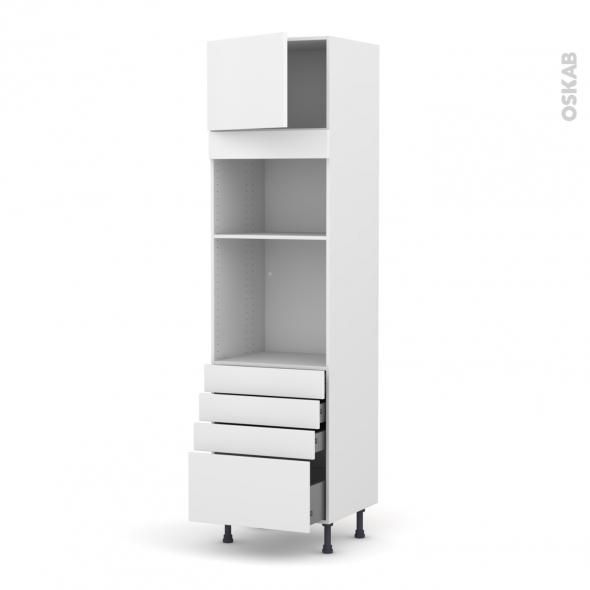 Colonne de cuisine N°1359 - Four+MO encastrable niche 36/38 - GINKO Blanc - 1 porte 4 tiroirs - L60 x H217 x P58 cm