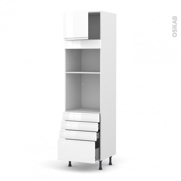 Colonne de cuisine N°1359 - Four+MO encastrable niche 36/38 - IPOMA Blanc brillant - 1 porte 4 tiroirs - L60 x H217 x P58 cm