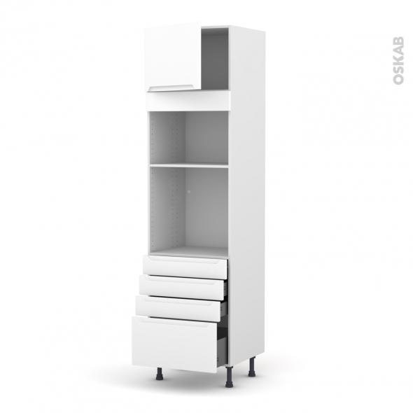 Colonne de cuisine N°1359 - Four+MO encastrable niche 36/38 - PIMA Blanc - 1 porte 4 tiroirs - L60 x H217 x P58 cm