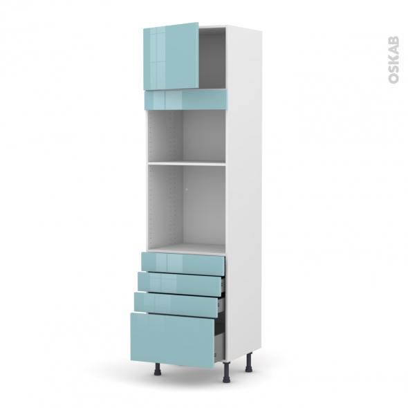 Colonne de cuisine N°1359 - Four+MO encastrable niche 36/38 - KERIA Bleu - 1 porte 4 tiroirs - L60 x H217 x P58 cm