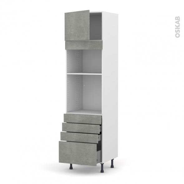 Colonne de cuisine N°1359 - Four+MO encastrable niche 36/38 - FAKTO Béton - 1 porte 4 tiroirs - L60 x H217 x P58 cm