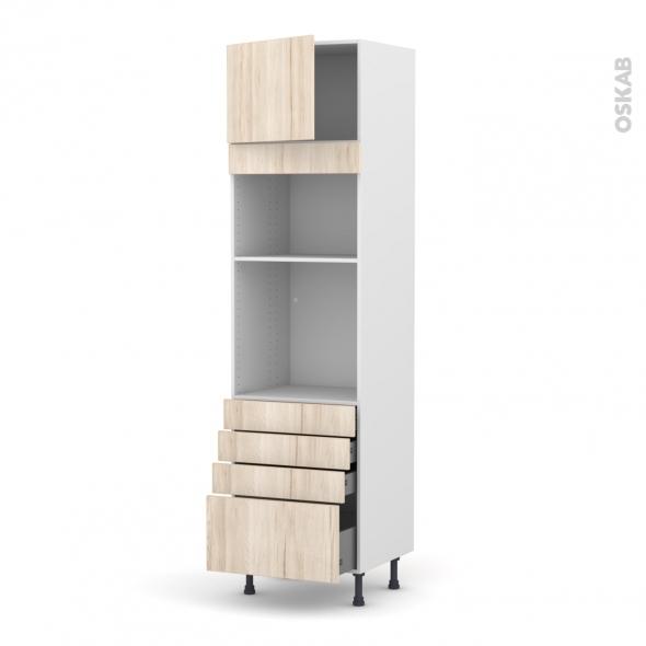 Colonne de cuisine N°1359 - Four+MO encastrable niche 36/38 - IKORO Chêne clair - 1 porte 4 tiroirs - L60 x H217 x P58 cm