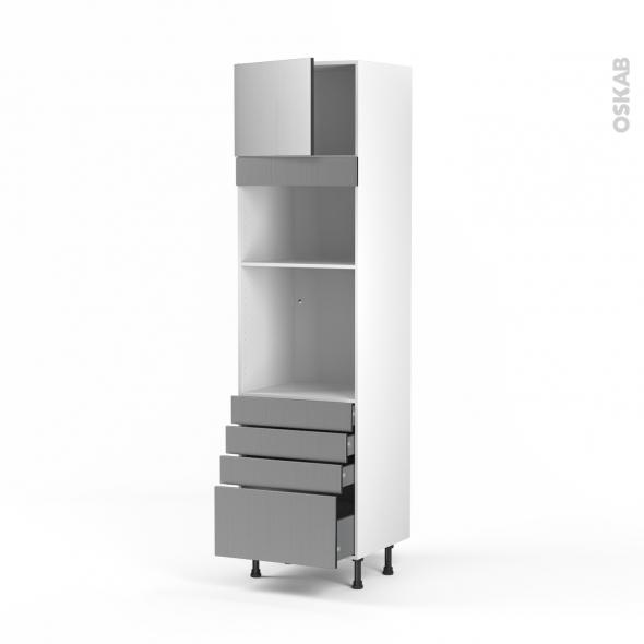 STILO Inox - Colonne Four+MO 36/38 N°1359  - 1 porte 4 tiroirs - L60xH217xP58