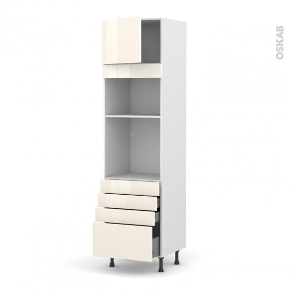 Colonne de cuisine N°1359 - Four+MO encastrable niche 36/38 - KERIA Ivoire - 1 porte 4 tiroirs - L60 x H217 x P58 cm