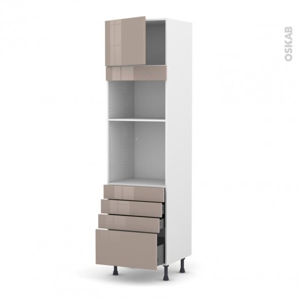 Colonne de cuisine N°1359 - Four+MO encastrable niche 36/38 - KERIA Moka - 1 porte 4 tiroirs - L60 x H217 x P58 cm