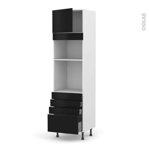 Colonne de cuisine N°1359 - Four+MO encastrable niche 36/38 - GINKO Noir - 1 porte 4 tiroirs - L60 x H217 x P58 cm