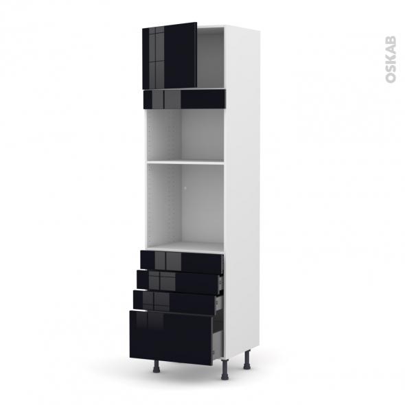KERIA Noir - Colonne Four+MO 36/38 N°1359  - 1 porte 4 tiroirs - L60xH217xP58