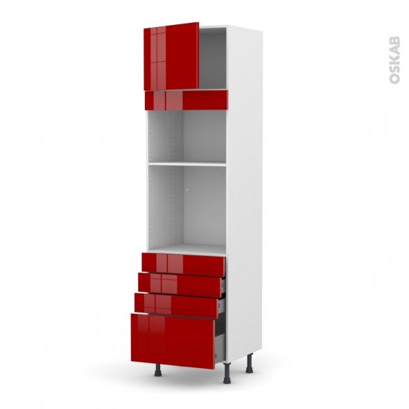 STECIA Rouge - Colonne Four+MO 36/38 N°1359  - 1 porte 4 tiroirs - L60xH217xP58