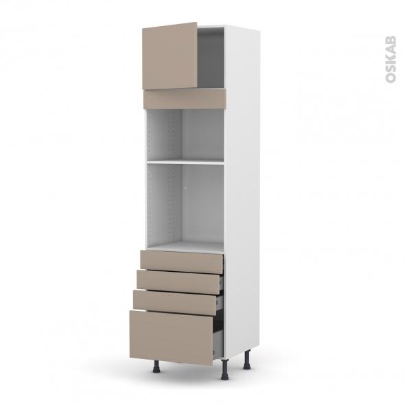 Colonne de cuisine N°1359 - Four+MO encastrable niche 36/38 - GINKO Taupe - 1 porte 4 tiroirs - L60 x H217 x P58 cm