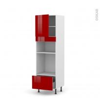 Colonne de cuisine N°1610 - Four+MO encastrable niche 36/38 - STECIA Rouge - 1 porte 1 tiroir - L60 x H195 x P58 cm